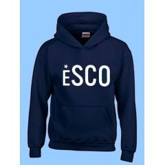 ESCO4091  Kangaroo Fleece Hoodie with White ESCO Print