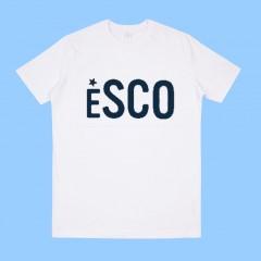 ESCO501 White  Short Sleeve T-Shirt with Navy ESCO Print