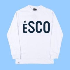 ESCO552 - White Long Sleeve T-shirt  with Navy Printed Logo