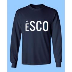 ESCO702 - Navy Long Sleeve T-shirt  with White ESCO Print
