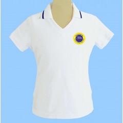 OE1001F - Tapered white V neck polo -Short Sleeves