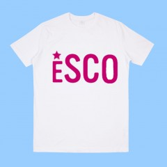 PSCO501 White  Short Sleeve T-Shirt with Pink ESCO Print -PURCHASE DEADLINE JULY 15TH