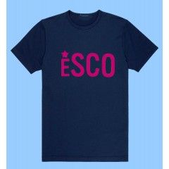 PSCO701 Navy  Short Sleeve T-Shirt with Pink ESCO Print -PURCHASE DEADLINE JULY 15TH