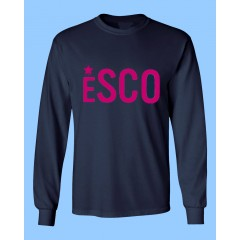 PSCO702 - Navy Long Sleeve T-shirt  with Pink Printed Logo- PURCHASE DEADLINE JULY 15TH