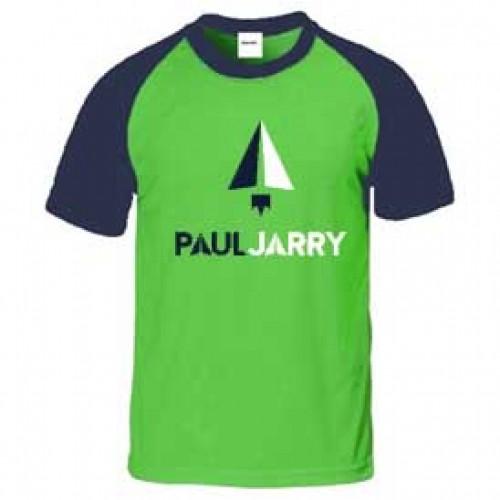 PJ4030 Green/Navy Short Sleeve Raglan T-Shirt with School Logo