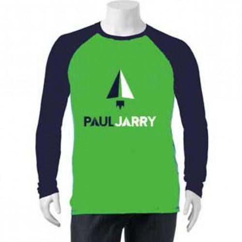 PJ4040 Green/Navy Long Sleeve T-shirt with School logo