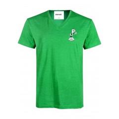 PJ405 Green Short Sleeve Sleeve V Neck T-Shirt