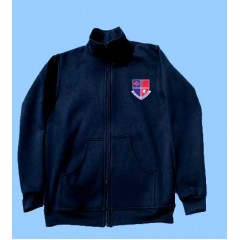 POM1010  Navy Zip Cardigan with Kangaroo Pockets and school logo