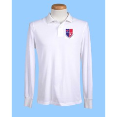 POM102 White Long Sleeve Polo with  Printed Logo (Unisex)