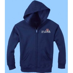 SAV4080 - Navy Zip Fleece Hoodie with Embroidered Logo