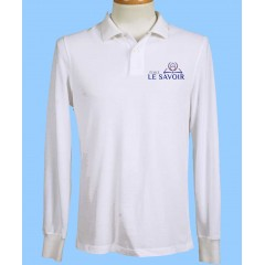 SAV7008 - Boys  White  Long Sleeve Piqué Polo with school logo