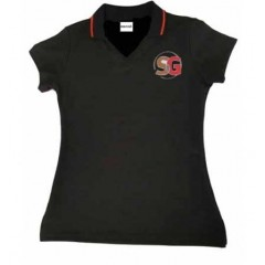SG1001  Tapered Black V neck polo