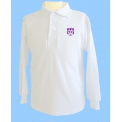 WES1008- White long sleeve polo with embroidered school crest