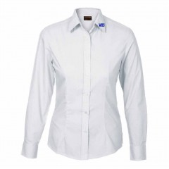 WES9610 WHITE TAPERED BLOUSE with school logo on collar