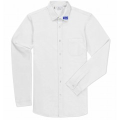 WES9611 - White  Oxford Shirt with school logo on collar
