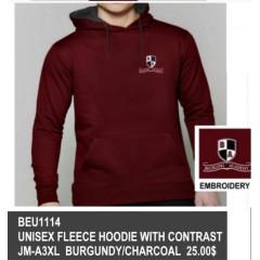 BEU1114 - Kangaroo Burgundy  fleece sweatshirt