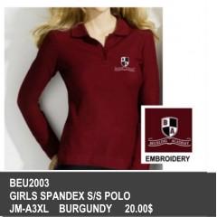 BEU2003- GIRLS BURGUNDY SPANDEX LONG SLEEVE POLO