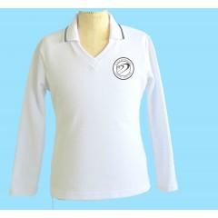 DOR1003- Tapered white V neck long sleeve polo