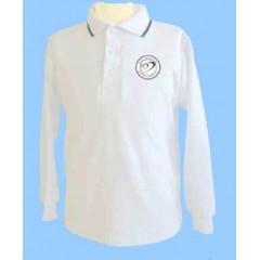 DOR1008- White long sleeve polo with school logo