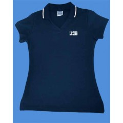 LHS1002 - Tapered Navy V neck polo -Short Sleeves