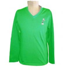 PJ403 Green Long Sleeve V Neck T-Shirt