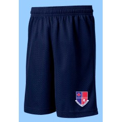 POM1014  Navy Mesh Gym  Short with Printed Logo