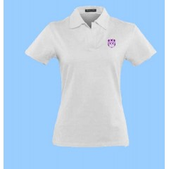 WES2001- WHITE SPANDEX SHORT SLEEVE POLO with embroidered school crest