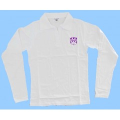 WES2003- GIRLS WHITE SPANDEX LONG SLEEVE POLO