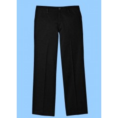 WES9022 - Junior Style Woven Twill Black Pant with Elastic Back